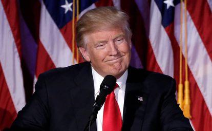 El recién elegido presidente de Estados Unidos, Donald Trump, este miércoles en Nueva York.