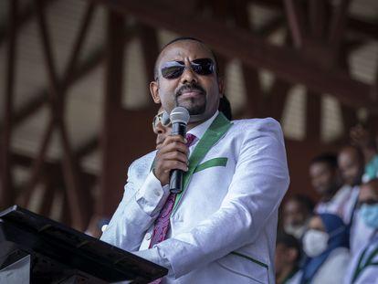 Abiy Ahmed, el 16 de junio de 2021, en un mitin en Jimma, en la región etíope de Oromia, en el suroeste del país.