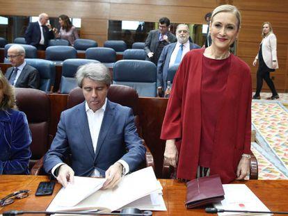 Cristina Cifuentes, comparece en la Asamblea de Madrid.