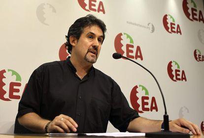 Pello Urizar, durante la rueda de prensa de este domingo en San Sebastián.