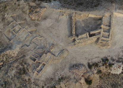 Vista aérea de la ciudadela del Cabezo Pequeño del Estaño.