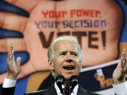 El vicepresidente Joe Biden, durante su discurso ante la convención anual de la NAACP.