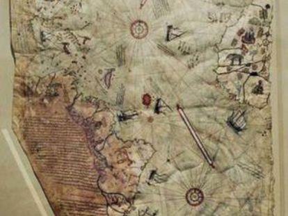 Un mapa anterior a 1513 que sitúa la Atlántida entre África y Suramérica, en medio del océano.