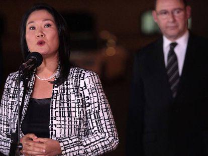 Keiko Fujimori durante una reunión en julio.