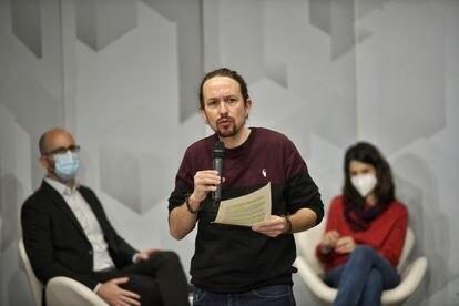 Pablo Iglesias durante un acto organizado por Podemos sobre las políticas de vivienda.