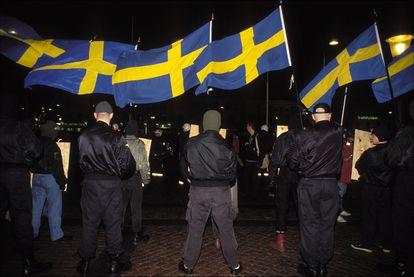 Manifestación de grupos de extrema derecha en Estocolmo en 1992.