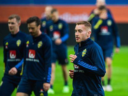 Dejan Kulusevski, durante un entrenamiento de Suecia. / (AFP)