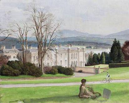 'The west or entrance front in 1939', con Plas Newydd al fondo.