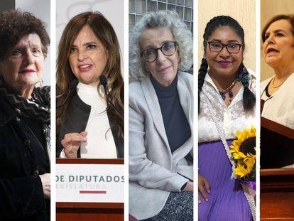 Margo Glantz, Lorena Villavicencio, Marta Lamas, Yolitzin Jaimes y Patricia Olamendi.