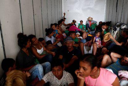Migrantes hondureños en México.