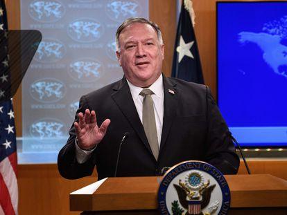 El secretario de Estado de EEUU, Mike Pompeo, habla durante una rueda de prensa celebrada el 2 de septiembre de 2020 en Washington.