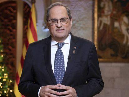El presidente de la Generalitat, Quim Torra, durante el discurso. En vídeo, el discurso completo de Torra.