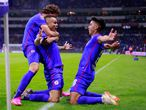 MEXICO CITY, MEXICO - MAY 30: Jonathan Rodriguez (C) of Cruz Azul celebrates with Santiago Gimenez (L) and Guillermo Fernandez (R) after scoring his team's first goal during the Final second leg match between Cruz Azul and Santos Laguna as part of Torneo Guard1anes 2021 Liga MX at Azteca Stadium on May 30, 2021 in Mexico City, Mexico. (Photo by Mauricio Salas/Jam Media/Getty Images)