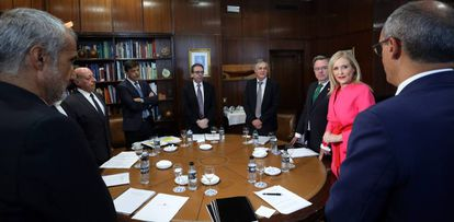 Cristina CIfuentes reunida con los rectores el 10 de septiembre.