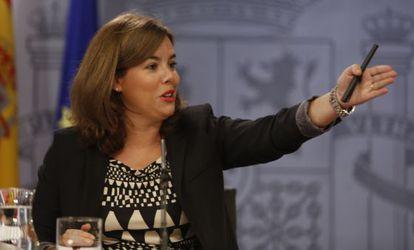 Soraya de Santamaría durante la rueda de prensa