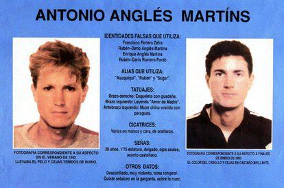 Cartel de búsqueda Antonio Anglés, el supuesto autor material del crimen de Alcàsser que nunca fue localizado.