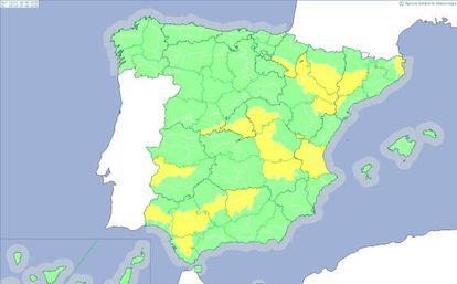 19 provincias están en alerta amarilla este viernes.