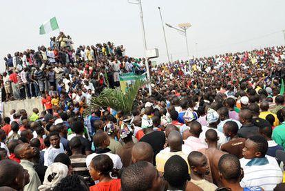 Manifestación contra la subida de la gasolina en Lagos.