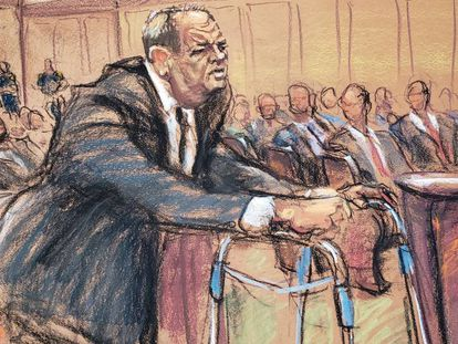 Harvey Weinstein, en una ilustración realizada durante el inicio del juicio el lunes en la Corte de Nueva York.