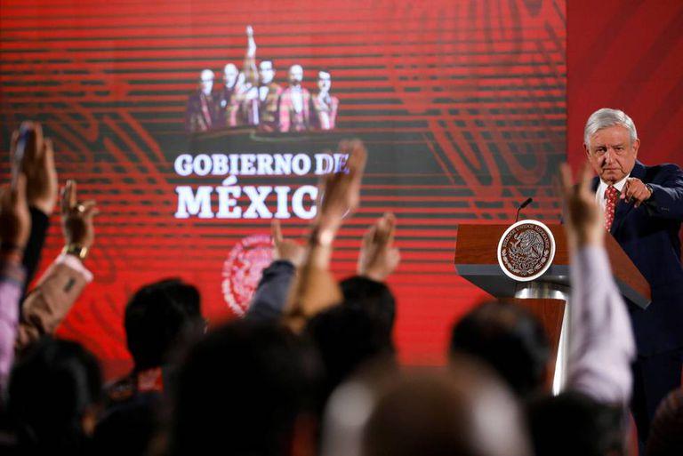 Una de las conferencias de prensa de López Obrador, presidente de México.