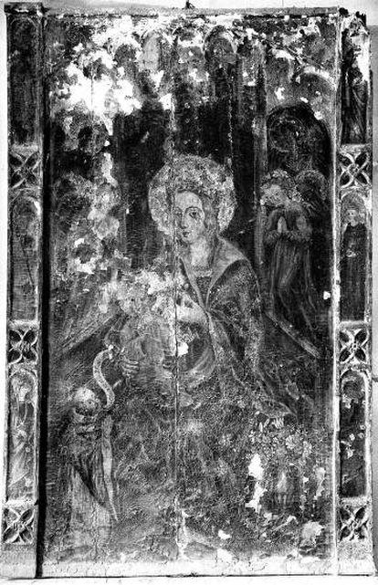 La obra 'Virgen de los Ángeles' de Bulbuente (Zaragoza) en 1947, antes de su restauración.