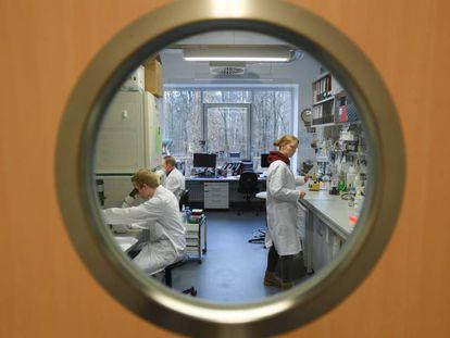 Trabajadores del Instituto de Virología de la Universidad Philipps de Marburgo (Alemania), que investiga una vacuna contra el coronavirus.