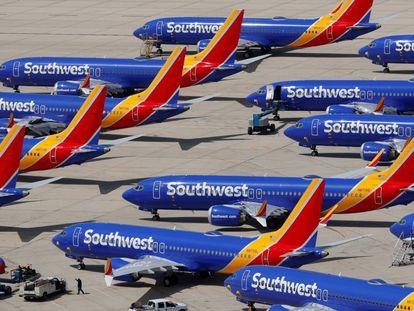 Aviones Boeing 737 Max de Southwest Airlines, aparcado en el aeropuerto de Victorville (EE UU), el pasado marzo.