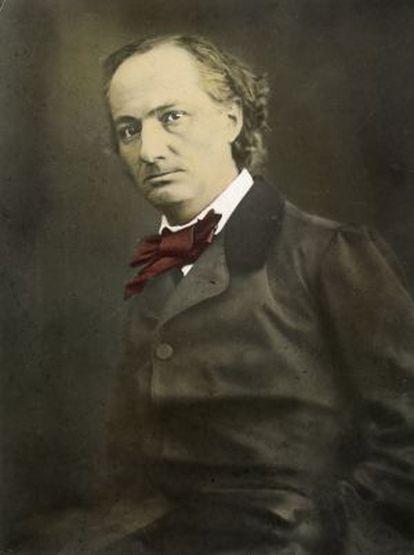 Retrato coloreado de Baudelaire realizado por Félix Nadar en 1860.
