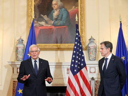 Josep Borrell (izquierda) y Antony Blinken, este jueves en el Departamento de Estado de Estados Unidos.