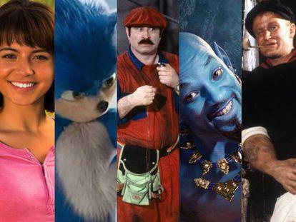 ¿Puedes reconocerlos? Son (o aseguran ser) Dora la exploradora, Sonic, Super Mario, el genio de Aladdin y Popeye interpretados por actores de carne y hueso o bien creados a partir de efectos especiales. En todos los casos, han recibido críticas negativas de los fans de los personajes originales.