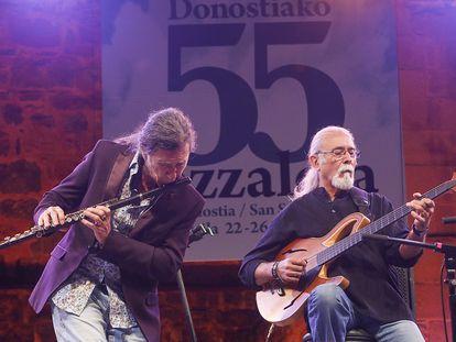 Jorge Pardo y Carles Benavent anoche en Jazzaldia.