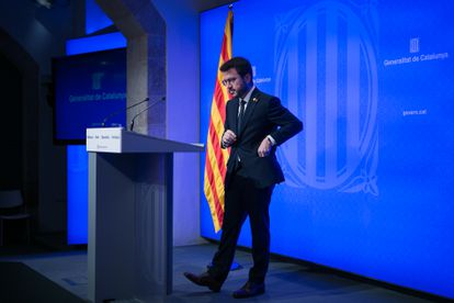 The Catalan president, Pere Aragonès, at the press conference after the Government meeting