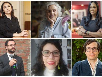 Desde la izquierda superior: Minerva Cuevas, Elena Poniatowska, Adela Navarro, Santiago Aguirre, Roselyn Lemus-Martin y Humberto Beck.