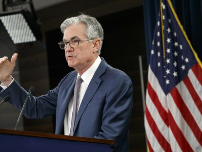 Jerome Powell, presidente de la Fed, en el anuncio sobre los tipos de interés en marzo.