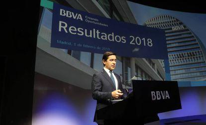 Carlos Torres, en la presentación de resultados del BBVA del año 2018.