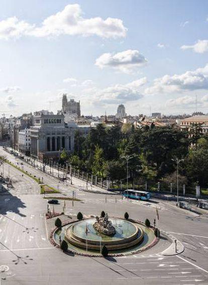 La fuente de Cibeles, a las puertas del Ayuntamiento de Madrid.