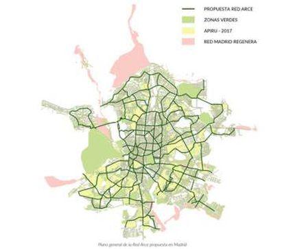 Plano de la Red ARCE, que planea conectar los grandes espacios verdes urbanos a través de una red continua y coherente de calles, avenidas y bulevares, representada con líneas verdes oscuras.