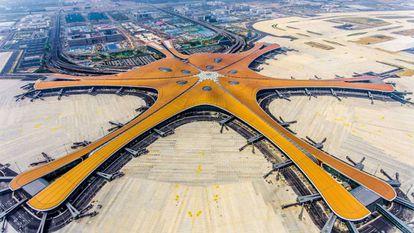 Vista aérea del aeropuerto de Pekín-Daxing.