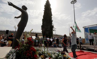 Un momento del acto de homenaje a Blas Infante con motivo del 85.º aniversario de su fusilamiento, este martes.