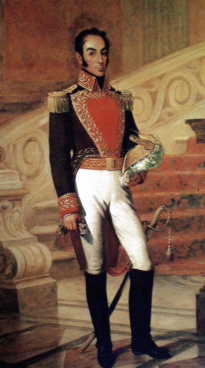 Retrato del caudillo bolivariano Simón Bolívar.