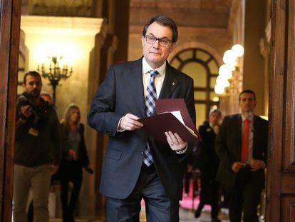 Artur Mas, presidente de la Generalitat, a su llegada al Parlament.