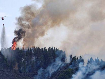 Vista del incendio en Valleseco, este sábado.