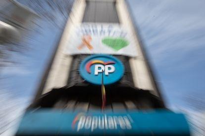 Fachada de la sede del Partido Popular en la calle Génova, en Madrid.