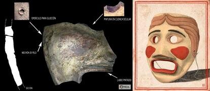 Detalles del fragmento recuperado de la máscara e ilustración interpretativa de su forma original.