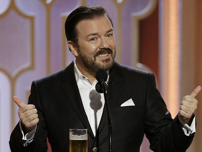 Ricky Gervais en su monólogo inicial.
