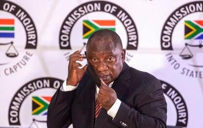 Cyril Ramaphosa comparecía el pasado abril ante la Comisión Zondo, que investiga la corrupción, en Johannesburgo.