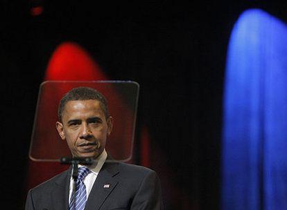 El candidato demócrata Barack Obama, en un acto de la Iglesia Episcopal Metodista Africana en San Luis el pasado sábado.