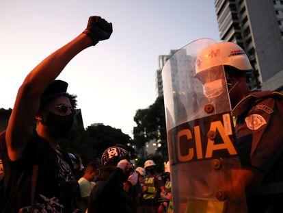 Protestas contra el presidente Jair Bolsonaro y el racismo, en São Paulo, el 7 de junio.