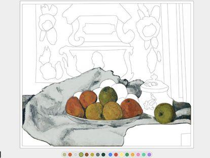 Art Coloring Book es uno de los juegos 'online' que Google propone para conocer mejor la obra de los artistas contenida en las más de 2.000 instituciones culturales de 80 países con las que colabora Google. EN la imagen, uno de los famosos fruteros de Cezanne. |