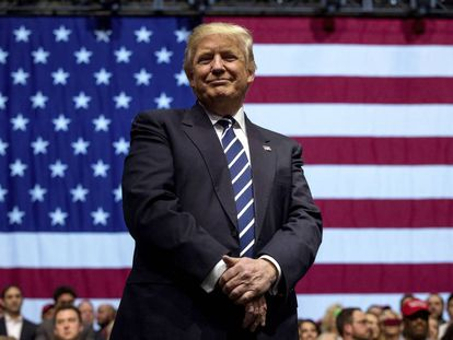 Donald Trump, durante un acto político en Michigan.